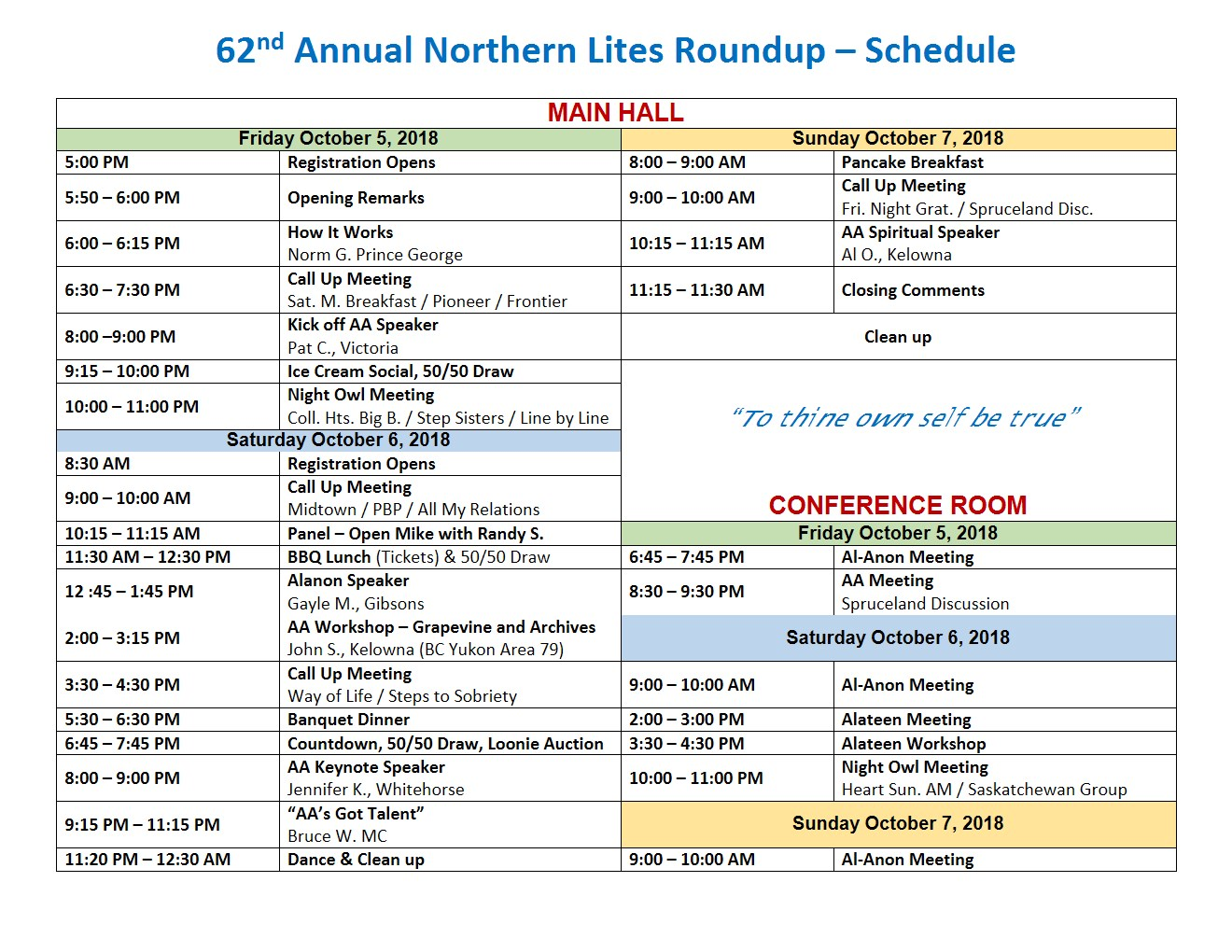 62nd Annual Northern Lites Roundup - Schedule